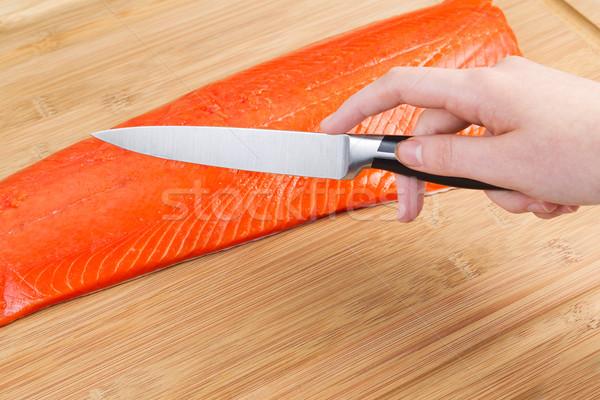 カット 赤 鮭 料理 水平な ストックフォト © tab62