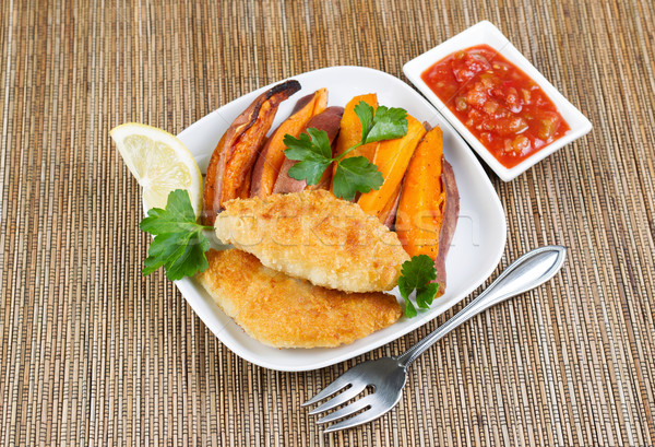 Fish and Chips with Salsa Sauce on the side Stock photo © tab62