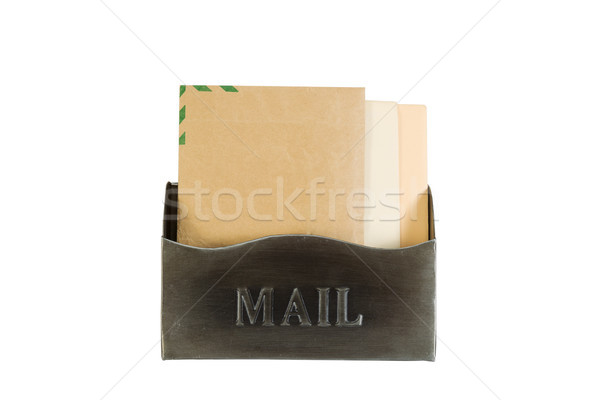 Old Metal Mailbox filled with Envelopes on White  Stock photo © tab62