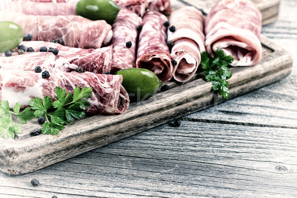 Cold cut meats on serving board in vintage style Stock photo © tab62