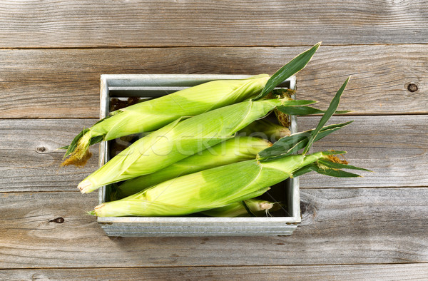 Vintage wooden crate filled with fresh sweet corn in stalks on w Stock photo © tab62