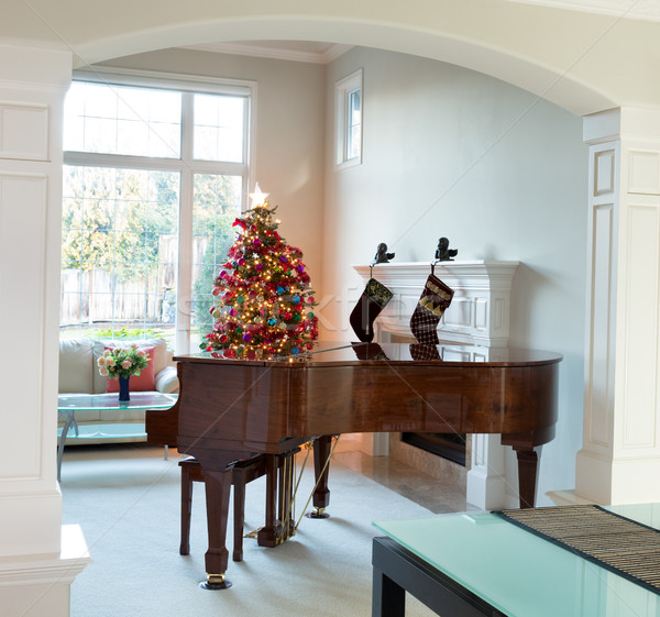 Living room with holiday decorations during bright daylight  Stock photo © tab62