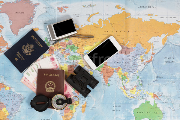 United States and Chinese passports with other travel items Stock photo © tab62