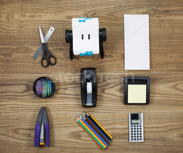 Basic Office Supplies on Aged Wood  Stock photo © tab62