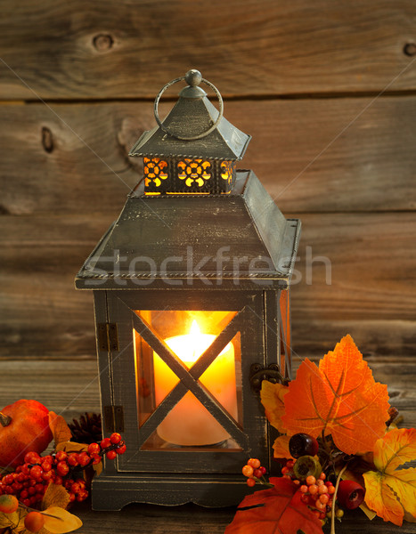 Traditional Asian Lantern Glowing Brightly with autumn Decoratio Stock photo © tab62