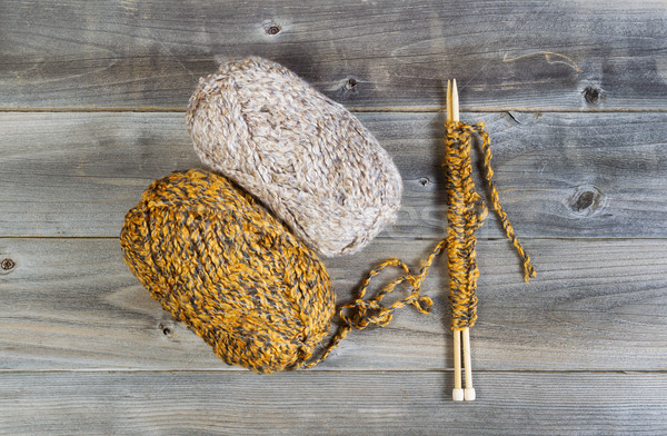 Knitting Materials on Rustic Wood  Stock photo © tab62