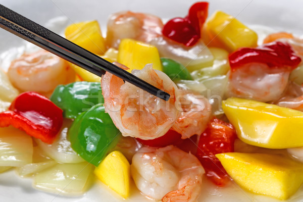 Foto stock: Fresco · camarão · pimentas · branco · prato