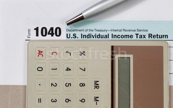 Impôt forme stylo simulateur recettes Photo stock © tab62