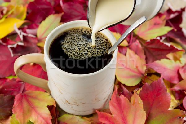 Fresh Cream added to Black Coffee  Stock photo © tab62