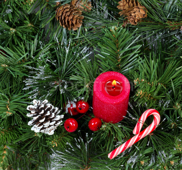 Piros karácsony gyertya égő láng örökzöld Stock fotó © tab62