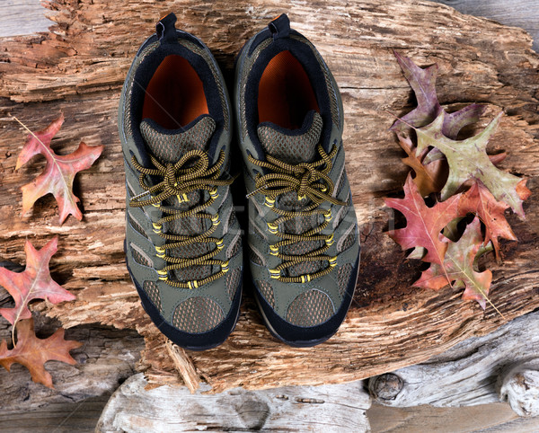 New hiking shoes on rotten wood background Stock photo © tab62