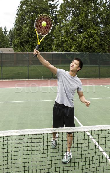 テニス ボレー 小さな アジア 男 ストックフォト © tab62