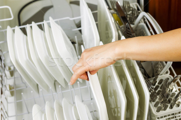 Loading dinner plates into the lower dish rack of dishwasher  Stock photo © tab62