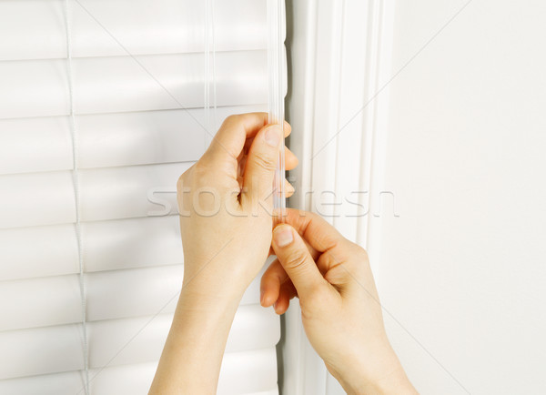 Stock photo: Adjusting Windows Blinds with Wand