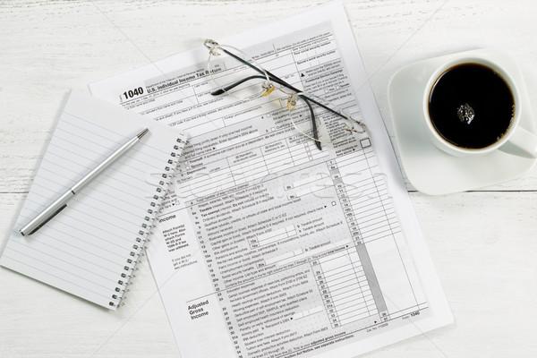 Stok fotoğraf: Vergi · belgeler · masaüstü · üst · görmek · gümüş