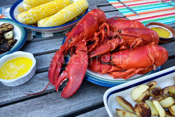 Steamed whole lobsters ready to server for dinner   Stock photo © tab62