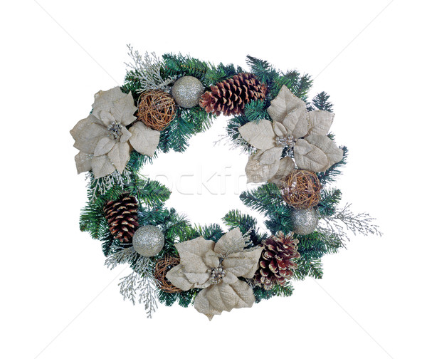 Holiday white Poinsettia Christmas wreath isolated on white back Stock photo © tab62