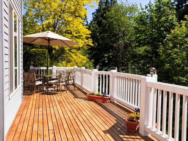 Casa ao ar livre cedro convés árvores Foto stock © tab62