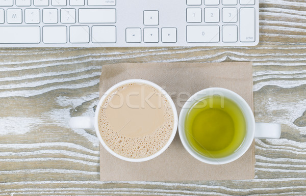 Office Desktop with Coffee and Tea Drinks  Stock photo © tab62