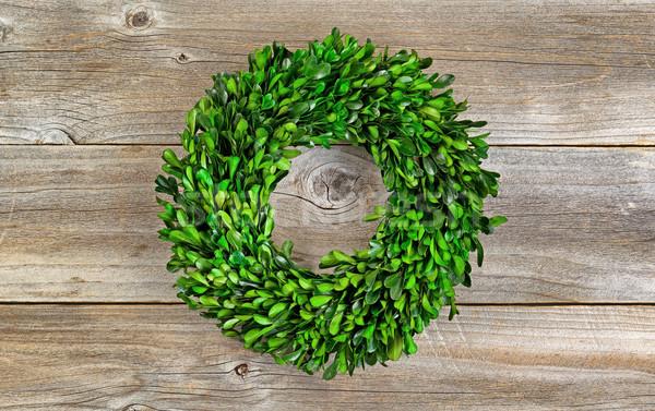 Green Boxwood Leaf Wreath on Rustic Wood  Stock photo © tab62