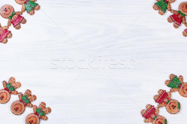 Beyaz ahşap Noel kurabiye tüm köşeler Stok fotoğraf © tab62