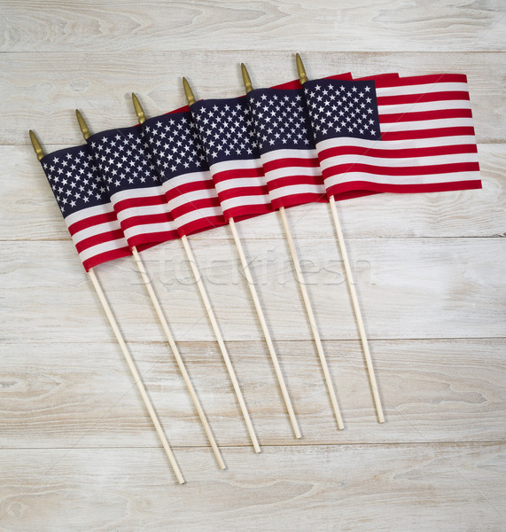 United of America Flags on white faded wood  Stock photo © tab62