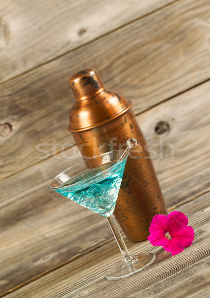 Freshly Poured Mixed Drink with Fresh Single Pink Flower  Stock photo © tab62