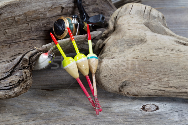 Fishing Objects on Driftwood  Stock photo © tab62