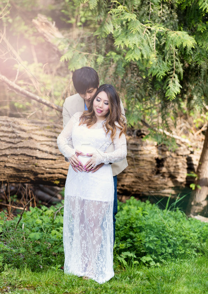 Expecting mom and dad holding each other outdoors with trees and Stock photo © tab62