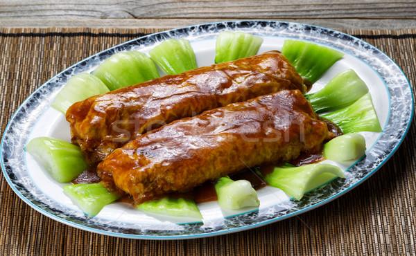 Hús tofu mártás zöldségek adag tányér Stock fotó © tab62