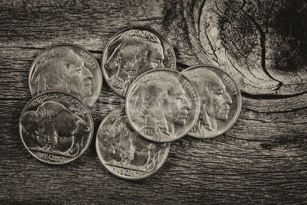 Vintage Indian Head Nickels on Wood  Stock photo © tab62