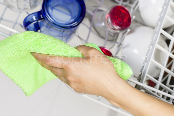 Cleaning Dishwasher Rack with Microfiber Rag  Stock photo © tab62