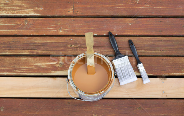 Preparing to Stain Wooden outdoor deck  Stock photo © tab62