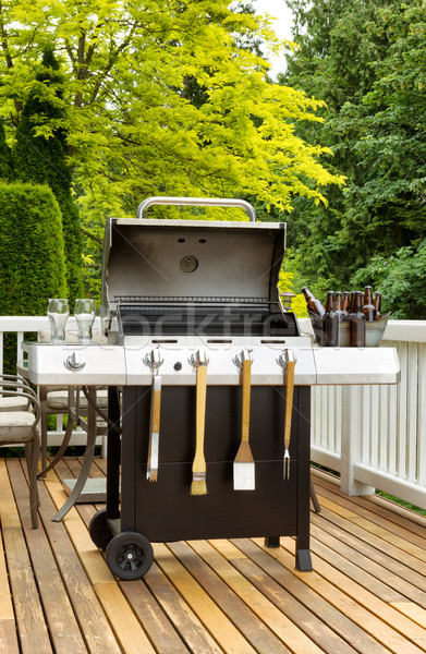 BBQ Cooker on cedar patio ready to use  Stock photo © tab62