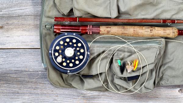 Alabalık balık tutma dişli yelek antika uçmak Stok fotoğraf © tab62