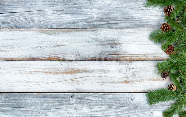 Christmas evergreen branches on rustic knotty white wooden backg Stock photo © tab62