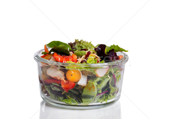 Fresh mixed salad in glass container isolated on white backgroun Stock photo © tab62