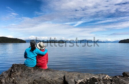 Mother and daughter enjoying their time on the lake together  Stock photo © tab62