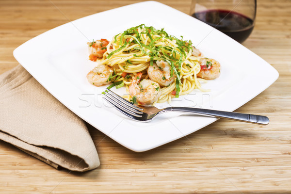 Shrimp Pasta Dish with Wine  Stock photo © tab62