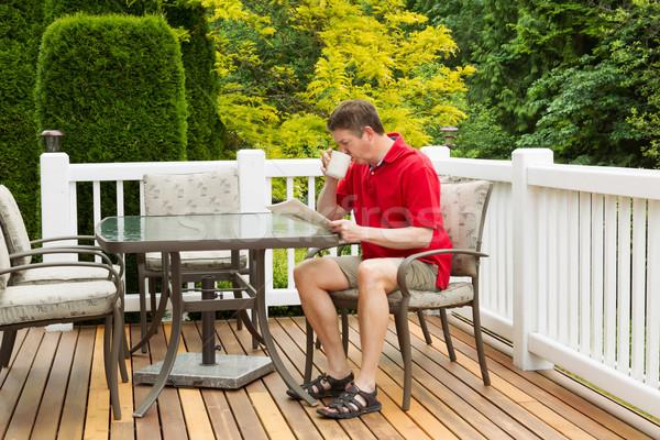 成熟した男 午前 コーヒー 屋外 パティオ 水平な ストックフォト © tab62