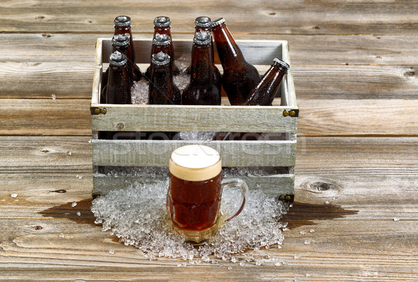 Cold dark beer with vintage crate filled with ice cold bottled b Stock photo © tab62