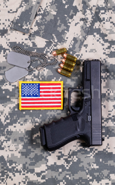 USA Flag patch on military uniform with weapon and ammo  Stock photo © tab62