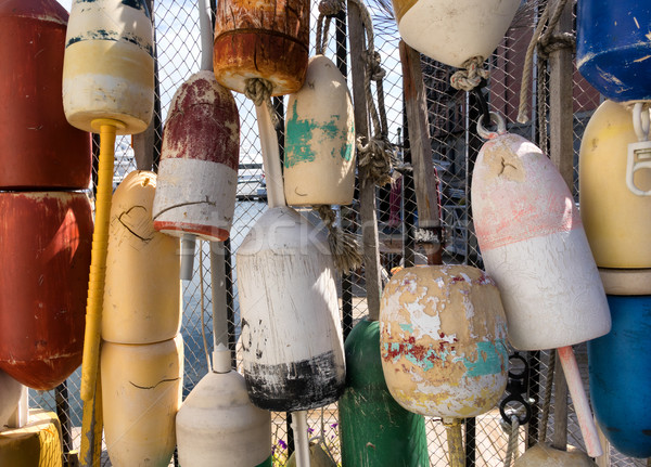 Old colorful Ocean buoys for commercial fishing  Stock photo © tab62