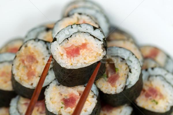 пряный тунца катиться выбранный палочки для еды Сток-фото © tab62