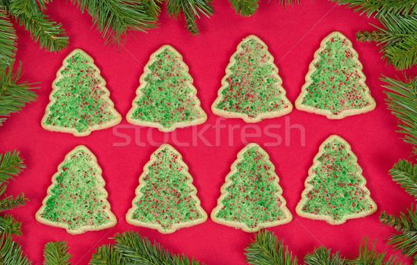 Karácsonyfa alakú sütik örökzöld keret szervezett Stock fotó © tab62