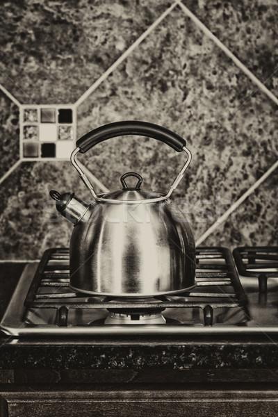 Hagyományos tea edény terjedelem klasszikus rozsdamentes acél Stock fotó © tab62