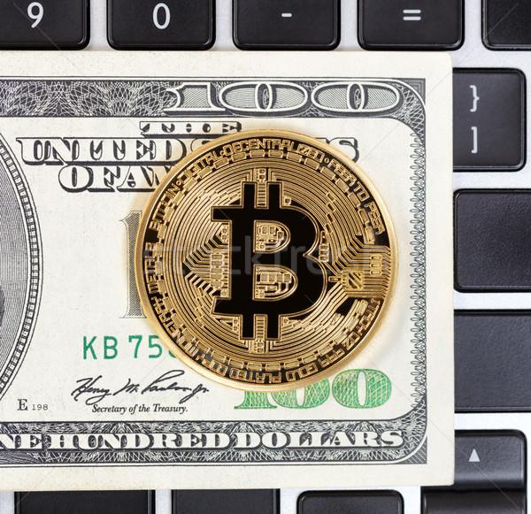 Ouro bitcoin papel moeda moeda teclado Foto stock © tab62