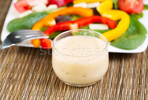 Kremsi salata sosu yatay fotoğraf küçük cam Stok fotoğraf © tab62