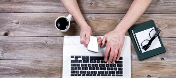 Top мнение рабочих Desktop стороны Сток-фото © tab62