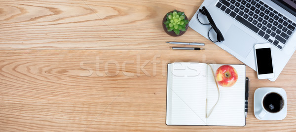 Clean red oak desktop with apple fruit and coffee for business o Stock photo © tab62